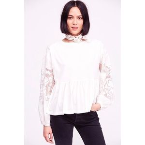 NWT Free People Ivory Embroidered Penny Tee